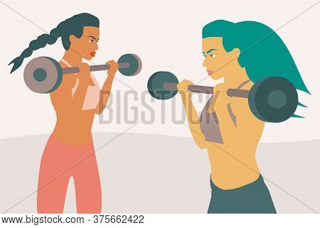 Illustration Of Two Fitness Women Lifting Weight With A Barbell