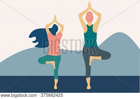 Illustration Of Two Women Practicing The Tree Pose Of Yoga