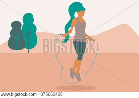 Illustration Of A Woman Jumping Rope At The Park