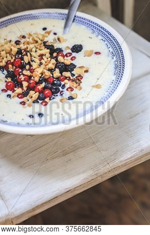 Bowl With Blue National Pattern With Cottage Cheese And Yogurt Smoothie With Chia, Raspberries, Red