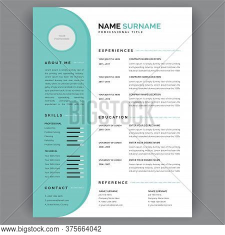 Cv Templates. Creative Cv / Resume Template Teal Green Background Color  Vector Illustration. Curric