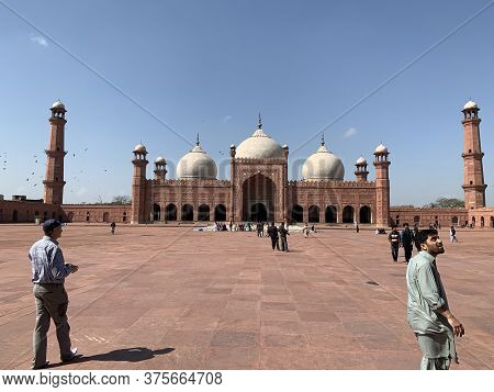 12 Of  March 2020, Badshahi Mosque With Clear Blue Sky On A Sunny Day