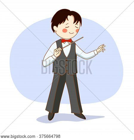 Vector Illustration: Conductor Of A Symphony Orchestra.