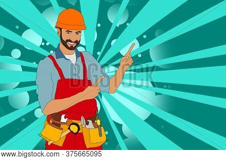 Sympathetic Bricklayer Dressed In Work Clothes, He Wears A Helmet And Trowel