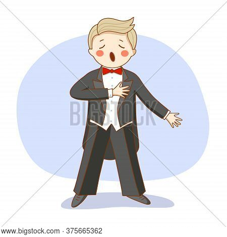 Vector Illustration: An Opera Singer In A Tuxedo Sings On Stage.