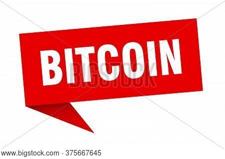Bitcoin Speech Bubble. Bitcoin Ribbon Sign. Bitcoin Banner