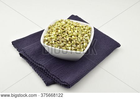 Bowl With Mung Bean Sprouts Isolated On White Background, Mung Sprouts