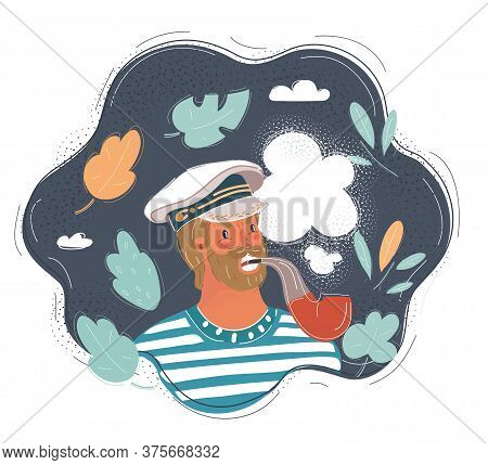 Vector Illustration Of Closeup Portrait Of Sailor With Pipe In His Mouth. Portrate On Dark Backgroun