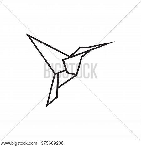 Line Icon Colibri Hummingbird Origami Design Vector