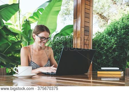 Young Woman Doing Some Digital On-line Distant Business, Staying At Home. Self Isolation Concept, Wo