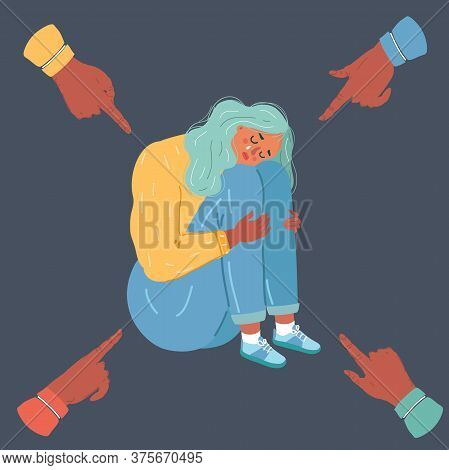 Vector Illustration Of Stop Bullying. Person Being Bullied On Dark Background. Young Woman, Outcast