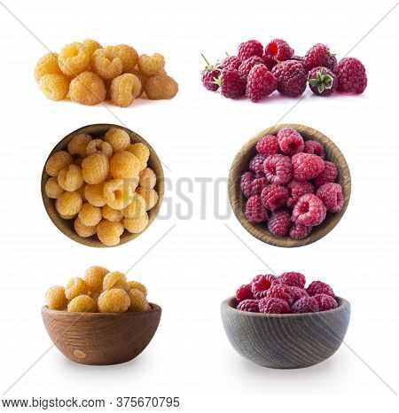 Raspberry Isolation. Yellow And Red Raspberries Isolated On White Background. Yellow And Red Raspber