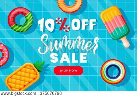 Summer Sale Banner Design Template. Inflatable Floating Funny Toys In Swimming Pool, Top View Vector