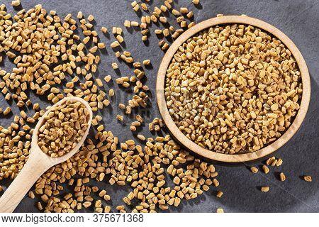 Organic Fenugreek Seeds - Methi Dana. Text Space