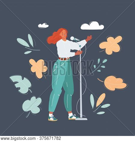 Vector Illustration Of Happy Woman Singing In Microphone, Make Stendup Show, Sing, Speaks At Confere