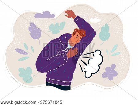 Vector Illustration Of Man Is Sweating A Lot. Looking With Surprice At Spot On Clothes.