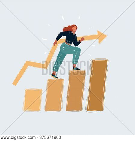 Vector Illustration Of A Girl College Student Walking Up The Staircase. Woman Is Climbing The Stairs