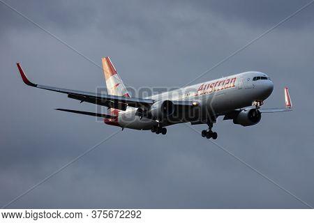 Vienna / Austria - November 29, 2019: Austrian Airlines Boeing 767-300 Oe-lae Passenger Plane Arriva