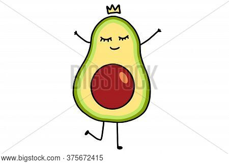 Cute Cartoon Avocado. Funny Doodle Fruit Character Isolated On White Background. Eating Healthy Conc