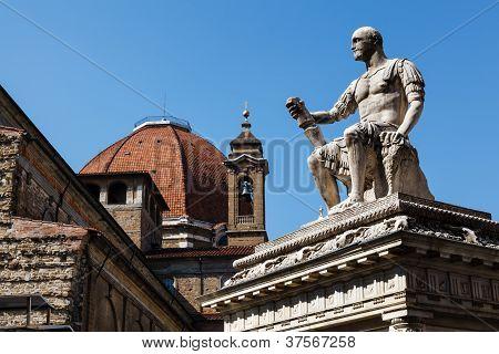 Statue Of Giovanni Delle Bande Nere At Piazza San Lorenzo By Baccio Bandinelli, Florence, Italy
