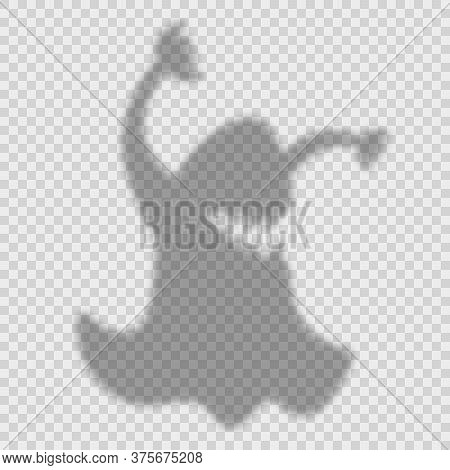 Shadow Overlay Effect For Halloween Background With Ghost With Arms Raised Up. Mockup Of Transparent