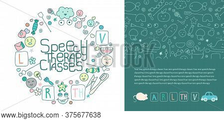 Concept Site Speech Therapy. School Speech Development. Cute Childrens Drawings Icons In Kavai Style