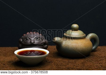 Image Of Teapot Cup Toad Dark Background