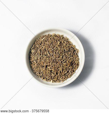 Ceylon Spice Cumin Seeds Isolated On White Background