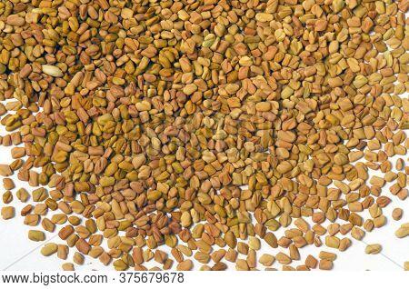Ceylon Spice Fenugreek Seeds In White Background