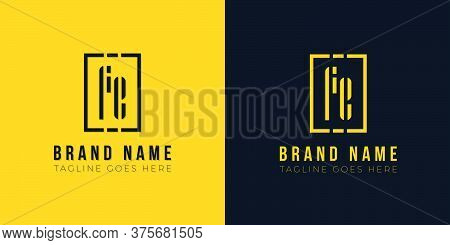 Minimalist Abstract Letter Fe Logo. This Logo Incorporate With Abstract Rectangle Shape And Typeface