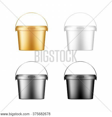Ice Cream, Yoghurt, Mayonnaise, Paint Or Putty Bucket With Handle Mockups