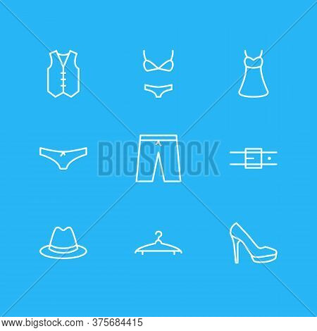 Vector Illustration Of 9 Clothes Icons Line Style. Editable Set Of Hanger, Vest, Bikini And Other Ic