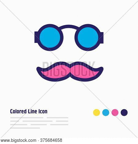 Vector Illustration Of Hipster Icon Colored Line. Beautiful Celebrate Element Also Can Be Used As Mo