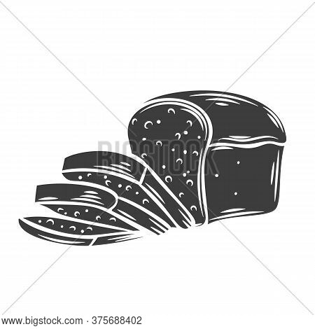Rye Bread Glyph Icon For Bakery Shop Or Food Design. Vector Illustration.