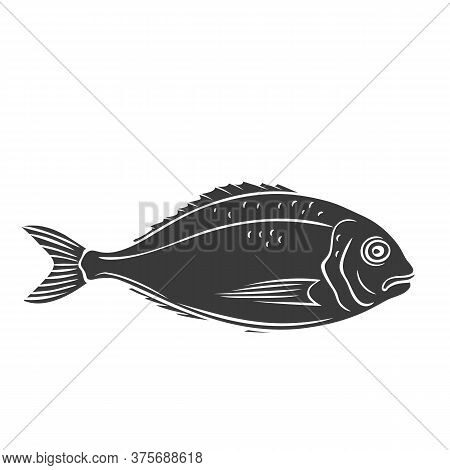 Dorado Fish Glyph Icon. Retro Badge Bream Fish For Design Seafood Product, Menu And Market. Vector I
