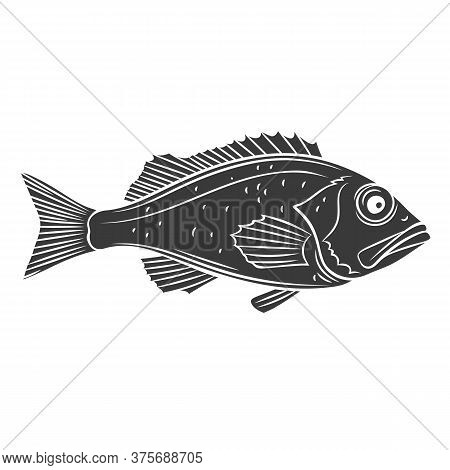 Ocean Perch Fish Glyph Icon. Badge Sebastes Fish For Design Seafood Packaging And Market. Vector Ill