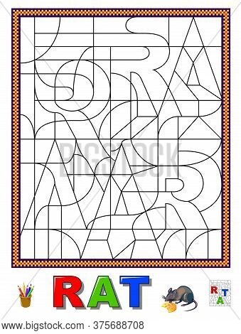 Logic Puzzle Game For Study English Or French Language With Maze. Find Letters And Paint Them. Read