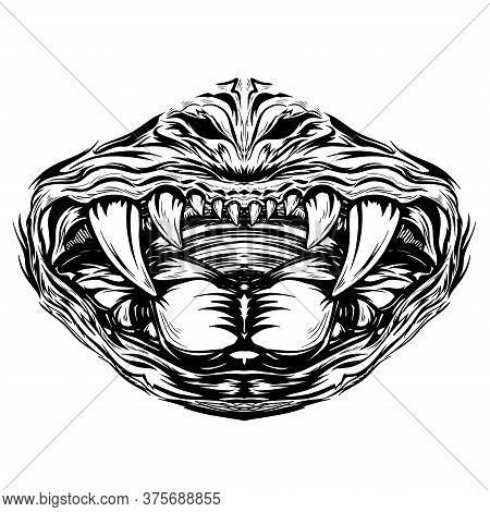 Vector Print Design Concept On Reusable Face Protection Masks. Angry Skull Mouth Fangs And Tongue Ar