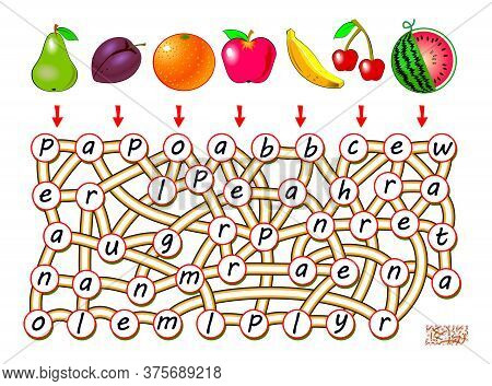 Logic Puzzle Game For Study English With Labyrinth. Find The Way From Each Fruit And Join Letters So