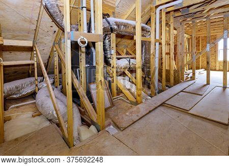 Under Home Beam Construction Frame Walls Built Framework Home Valves Close Up Installation Of Heatin