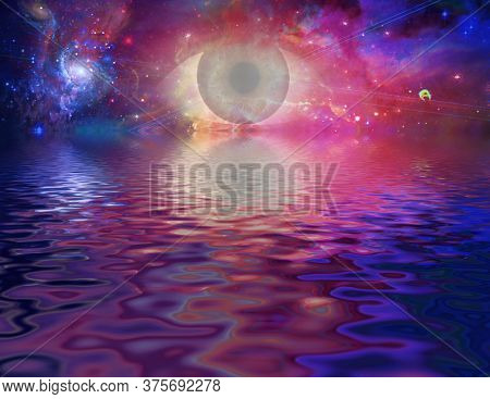 Mystical eye in vivid space and reflections