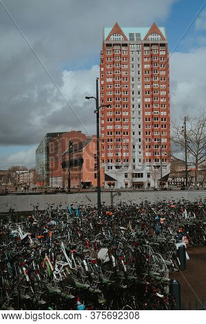 Rotterdam, Netherlands - March 9, 2020: Bicycle Parking In Rotterdam City In The Daytime