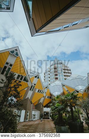 Rotterdam, Netherlands - March 9, 2020: Cube Houses (kubuswoningen) In Rotterdam, Netherlands At Day
