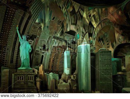 Manhattan panorama. Digital painting. Surreal art. 3D rendering