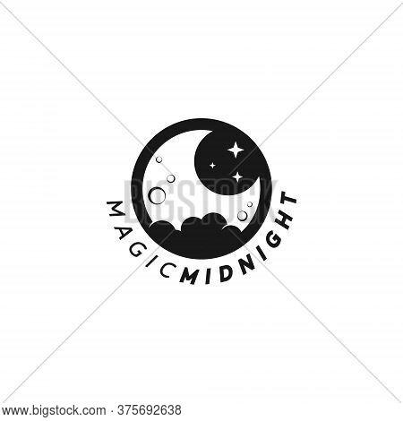 Moon Logo Simple Round Black Midnight Vector, Emblem, Badge Nature Design Template Idea
