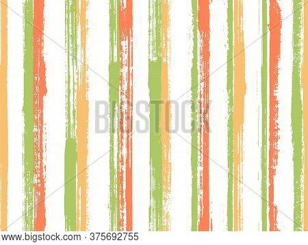 Ink Brush Stroke Straight Lines Vector Seamless Pattern. Elegant Serape Ethnic Textile Design. Retro