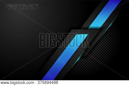 Dark Black Carbon With Modern Shinny Gradient Lines In 3d Abstract Style Background. Vector Graphic