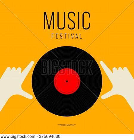 Music Poster Design Template Background With Vinyl Record Vintage Retro Style. Design Element Templa