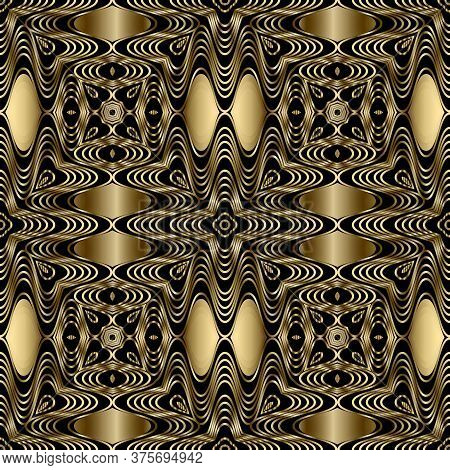 Gold Lines 3d Seamless Pattern. Line Art Patterned Ornamental Abstract Background. Gold Wavy Lines O