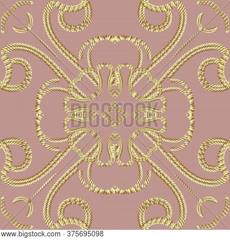 Textured Gold 3d Ropes Seamless Pattern. Tapestry Ornamental Floral Background. Embroidery Vintage F